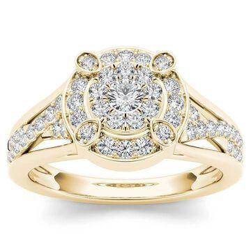 De Couer 10k Yellow Gold 1/2ct TDW Diamond Halo Engagement Ring