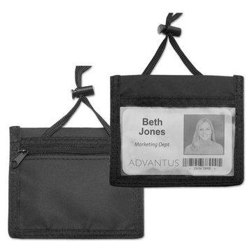 Advantus ID Badge Holder w/Convention Neck Pouch, Horizontal, 4 x 2 1/4, Black, 12/Pack -AVT75452