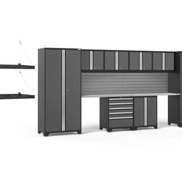 NewAge Products Pro Series 184-in W x 85.25-in H Charcoal Gray Steel Garage Storage System Stainless Steel | 54313