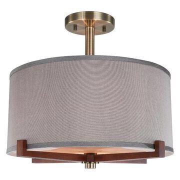 Woodbridge Lighting Brendan Semi-Flush, Brass, Gray