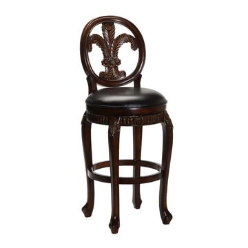 Hillsdale Furniture Fleur De Lis Distressed Cherry with Copper Highlights Counter height (22-in to 26-in) Upholstered Swivel Bar Stool Leather in