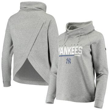 Levelwear New York Yankees Women's Heathered Gray Craze Open Back Funnel Neck Pullover Sweatshirt