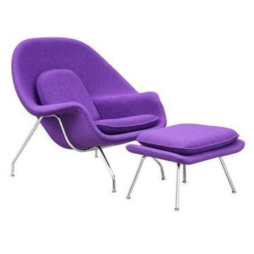 Fine Mod Imports Woom Chair and Ottoman, Purple