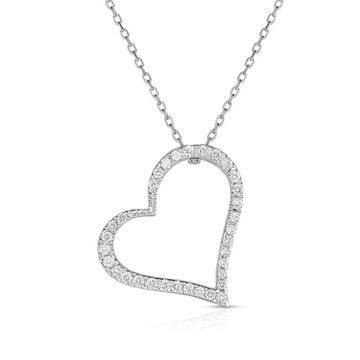 Noray Designs 14k White Gold Diamond (1/4 ct, G-H Color, SI2-I1 Clarity) Heart Pendant, 18