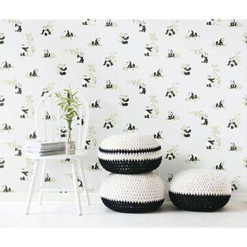 Roommates Panda Peel & Stick Wallpaper in Grey