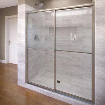 Basco Deluxe 45-in to 47-in W Framed Brushed Nickel Bypass/Sliding Bathtub Door
