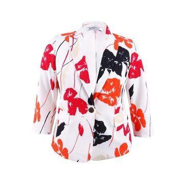 Kasper Women's Plus Size Tropical Printed Crepe Jacket - Valencia Multi
