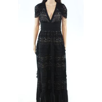 Monique Lhuillier Womens Dress Gown V-Neck Tiered Ruffle