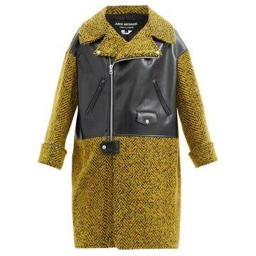 Junya Watanabe - Herringbone-tweed And Faux-leather Coat - Womens - Yellow Multi