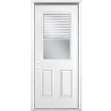 Masonite 32-in x 80-in Steel Half Lite Right-Hand Inswing Primed Prehung Single Front Door with Brickmould and Blinds in White   741075