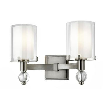 allen + roth Sofia 15-in W 2-Light Satin Nickel Transitional Wall Sconce