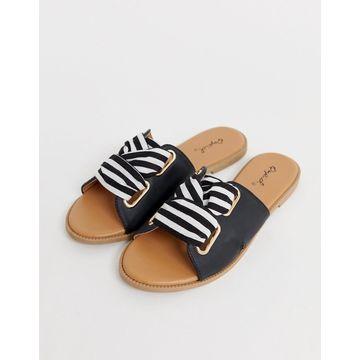 Qupid stripe mule sandals