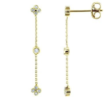 Annello by Kobelli 14k Gold Floral Diamond Chain Dangle Earrings