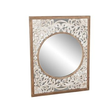 Farmhouse Rectangular Scrollwork Framed Wall Mirror by Studio 350 - Brown/Ivory