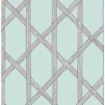Kenneth James Mandara Light Blue Trellis Wallpaper