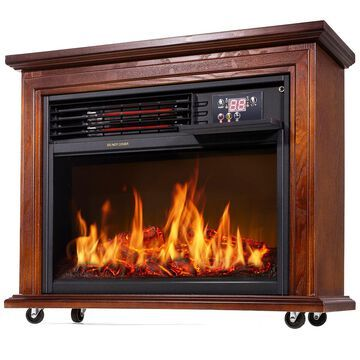Large Room Electric Infrared Fireplace Heater Wood Mantel Oak Finish w/ Casters