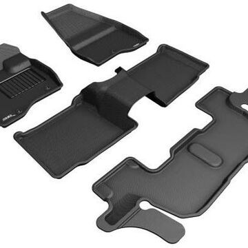 2018 Ford Explorer 3D Maxpider Kagu Floor Mats, Front, 2nd, and 3rd Row Floor Mats in Black