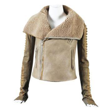 Rick Owens Beige Leather Jackets