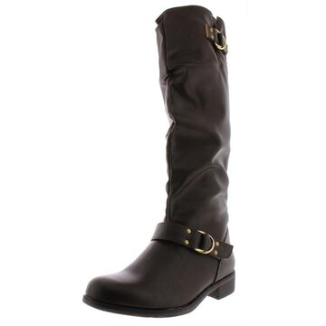 XOXO Womens Minkler Faux Leather Zipper Riding Boots