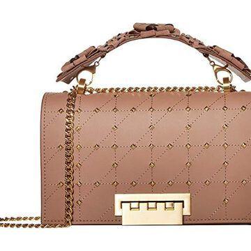 ZAC Zac Posen Earthette Chain Shoulder w/ Floral Feature Handle - Solid (Mineral) Handbags