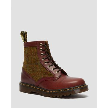 Dr. Martens, Men's 1460 Harris Tweed Leather Lace Up Boots in Oxblood/Country Check, Size 14