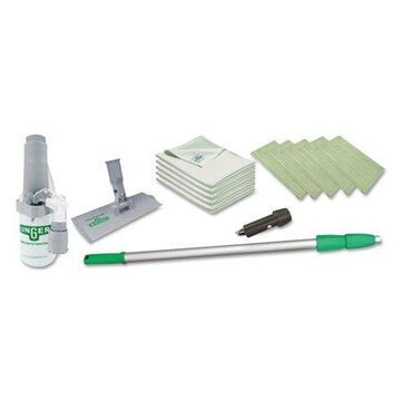 """Unger Indoor Window Cleaning Kit, Aluminum, 72"""" Extension Pole With 8"""" Pad Holder"""