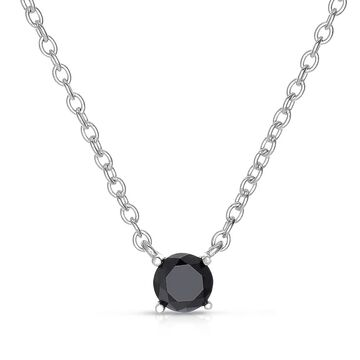 Finesque Sterling Silver 1/10 to 1ct TDW Black Diamond Solitaire Necklace