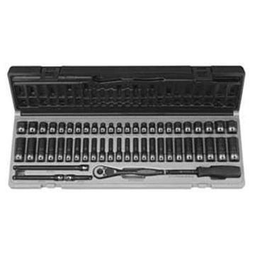 Grey Pneumatic GRE89653CRD .25 Inch Dr. 53Pc Fract. Metric Duo-Socket Set- 6 P