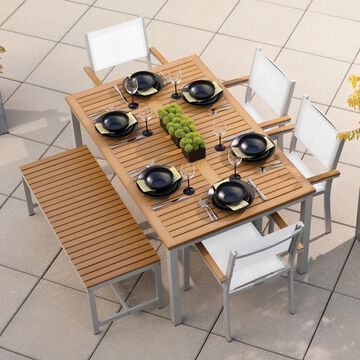 Oxford Garden Travira 6 Piece Natural Tekwood Dining Set