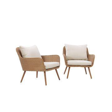 Crosley Landon 2 Piece Outdoor Wicker Chair Set
