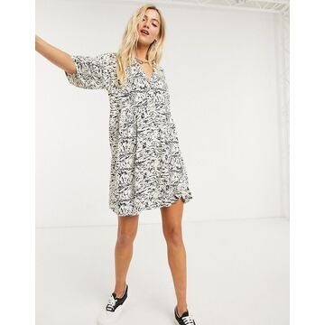 Noisy May shirt smock mini dress in abstract marble print-Beige