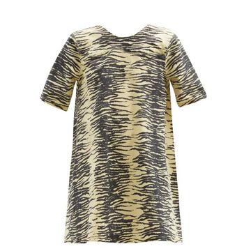 Ganni - Zebra-print Organic Cotton-blend Denim Mini Dress - Womens - Yellow