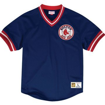 Mitchell & Ness Men's Replica Boston Red Sox Navy Cooperstown Jersey