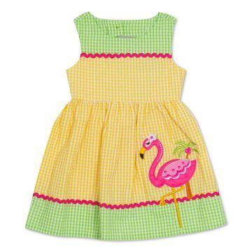 Baby Girls Flamingo Gingham Seersucker Dress