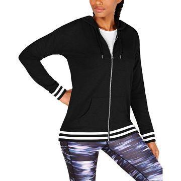 Ideology Womens Hooded Striped Sweatshirt