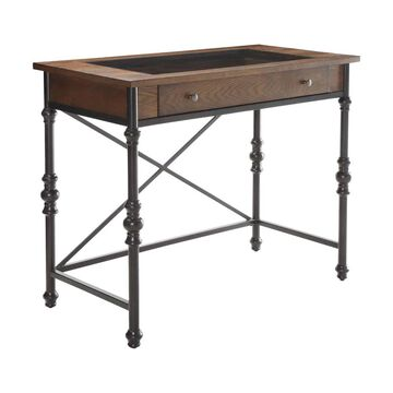 ACME FURNITURE Jalisa Walnut and Black Counter Table, Wood with Metal Metal Base   72350