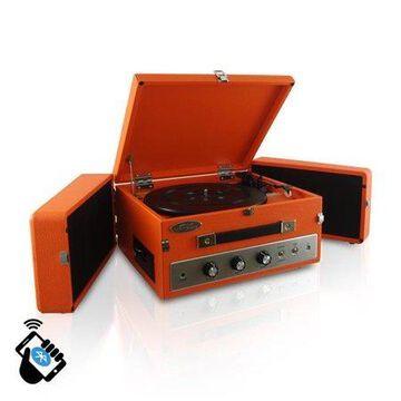 Pyle PLTT82BTOR Vintage Classic Style Bluetooth Turntable, Orange