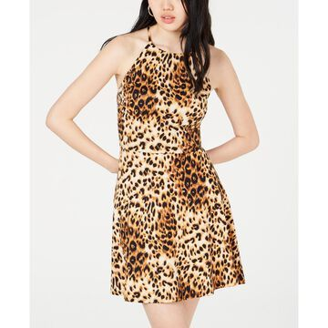 Juniors' Animal-Print Strappy-Back Dress