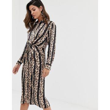 Liquorish twist front shirt dress in stripe leopard