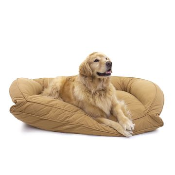 Carolina Pet Company Orthopedic Quilted Microfiber Bolster Dog Bed in Saddle