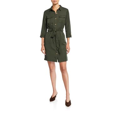 Button Down 3/4 Sleeve Shirt Dress