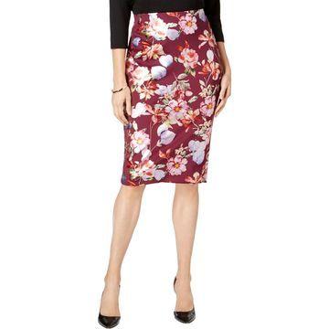 ECI Womens Metallic Floral Print Pencil Skirt