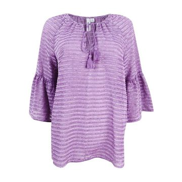 Kensie Women's Striped Ruffled-Sleeve Top