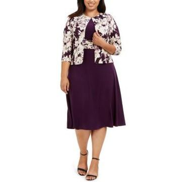 Jessica Howard Plus Size Ruched-Waist Dress & Floral-Print Jacket