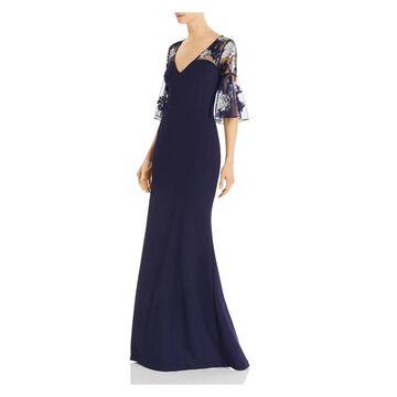 AIDAN MATTOX Navy Short Sleeve Full-Length Dress 2