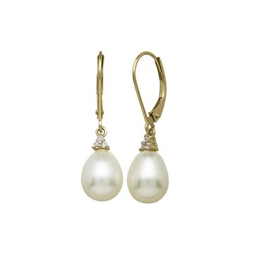 Certified Sofia Cultured Freshwater Pearl 14K Yellow Gold Earrings