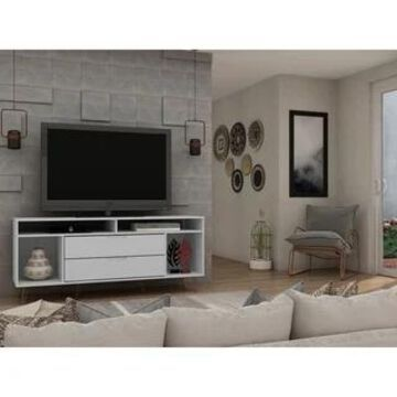 Rockefeller 62.99 TV Stand with Metal Legs and 2 Drawers by Manhattan Comfort (White)