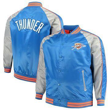 Men's Majestic Blue Oklahoma City Thunder Big & Tall Lightweight Satin Full-Snap Jacket