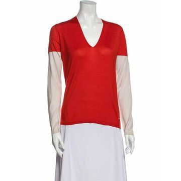 Cashmere Colorblock Pattern Sweater Red