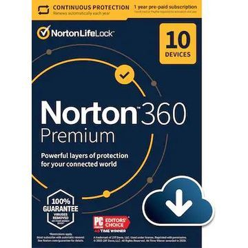Norton 360 Premium for 10 Devices, Windows/Mac/Android/iOS, Download (21390643) | Quill